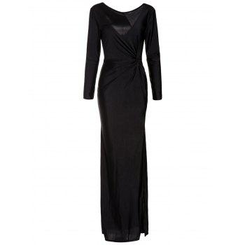 Elegant Long Sleeve Scoop Neck Black High Slit Ruched Women's Maxi Dress