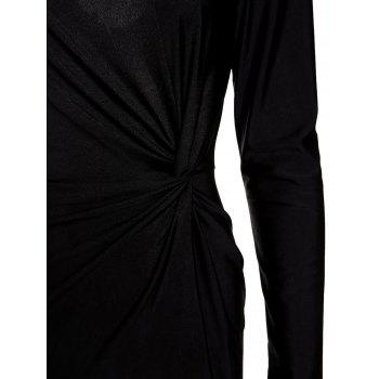 Elegant Long Sleeve Scoop Neck Black High Slit Ruched Women's Maxi Dress - BLACK BLACK
