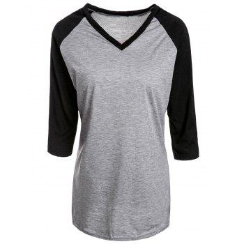 Active Color Spliced V-Neck 3/4 Sleeve Pullover Baseball T-Shirt For Women