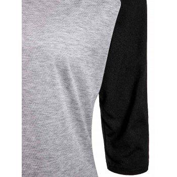 Active Color Spliced V-Neck 3/4 Sleeve Pullover Baseball T-Shirt For Women - BLACK XL