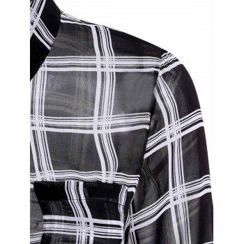 Concise Plaid Printed Shirt Collar Waist Tied Mini Dress For Women - BLACK S
