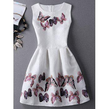 Stunning Women's Jewel Neck Sleeveless Butterfly Print Pleated Dress