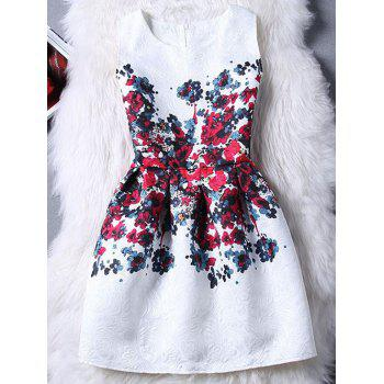 Graceful Women's Jewel Neck Sleeveless Jacquard Floral Print Dress