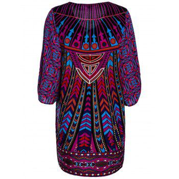 Lace-Up V-Neck Colorful Ethnic Print 3/4 Sleeve Dress For Women - COLORMIX L