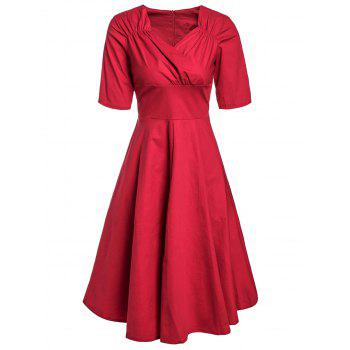 Retro Style Short Sleeve Sweetheart Neck Ruched Solid Color Women's Dress