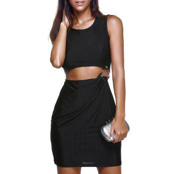 Fashionable Bare Midriff Design Faux Twinset Dress For Women - BLACK XL
