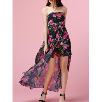 Trendy Strapless Overlay Asymmetrical Floral Print Women's Dress