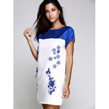 Chic Short Sleeve Round Collar Spliced Floral Embroidery Women's Dress - BLUE S