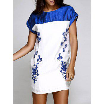Chic Short Sleeve Round Collar Spliced Floral Embroidery Women's Dress