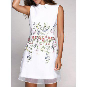 Cute Sleeveless Flat Collar Voile Splicing Floral Embroidery Women's Dress