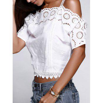 Strappy Cold Shoulder Lace Cutwork Blouse