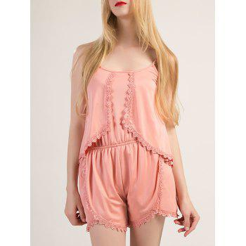 Sweet Spaghetti Strap Lace Hem Pure Color Romper For Women