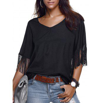 Trendy V-Neck Short Sleeve Fringe Design Blouse For Women