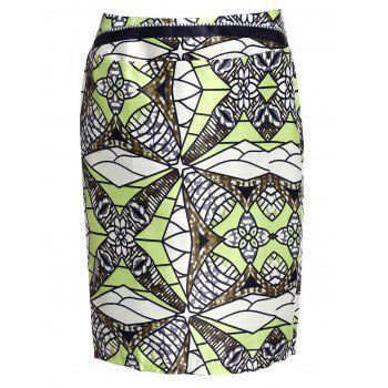 Stylish High-Waisted Knee-Length Printed Women's Skirt - YELLOW XL