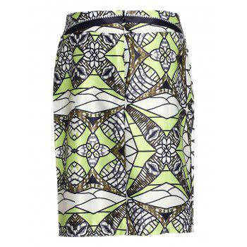 Stylish High-Waisted Knee-Length Printed Women's Skirt - XL XL