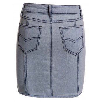 Sexy Skinny Buttoned Denim Skirt For Women - S S