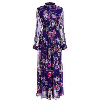 Graceful Floral Printed Stand Collar Layered Pleated Maxi Chiffon Dress For Women