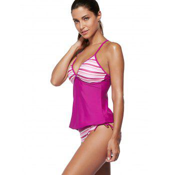 Spaghetti Women's Strap Striped Color Block Swimsuit