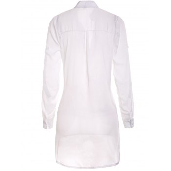 Stylish Plunging Collar Long Sleeve Solid Color Women's Blouse - WHITE S
