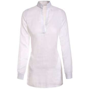 Stylish Plunging Collar Long Sleeve Solid Color Women's Blouse - WHITE L