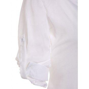 Stylish Plunging Collar Long Sleeve Solid Color Women's Blouse - WHITE WHITE
