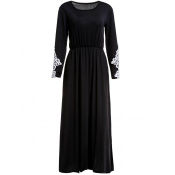 Stylish Long Sleeve Scoop Collar Appliques Design Women's Maxi Dress