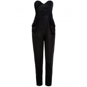 Stylish Strapless Sleeveless Solid Color Pocket Design Women's Jumpsuit