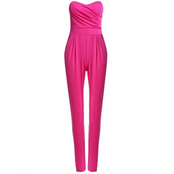 Sexy Strapless Sleeveless Pocket Design Solid Color Women's Jumpsuit