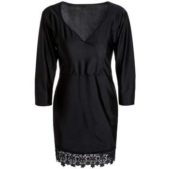 Trendy Plunging Neck Black 3/4 Sleeve Lace Hem Bodycon Dress For Women - BLACK M