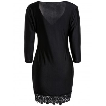 Trendy Plunging Neck Black 3/4 Sleeve Lace Hem Bodycon Dress For Women - M M