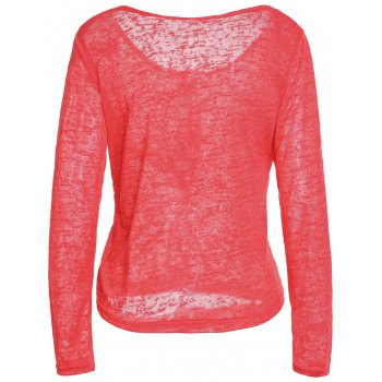 Pullover Long Sleeve Scoop Neck Solid Color Blouse For Women - RED XL