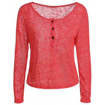 Pullover Long Sleeve Scoop Neck Solid Color Blouse For Women - RED RED