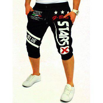 Buy Men's Letter Star Printed Solid Color Lace-Up Shorts BLACK