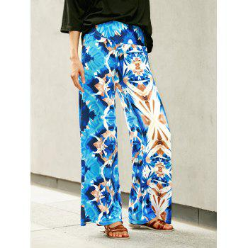 Trendy Colorful Print High Waist Wide-Leg Pants For Women