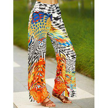 Stylish Colorful Ethnic Print Wide Leg Pants For Women - COLORMIX M