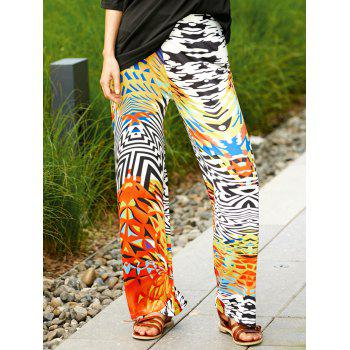 Stylish Colorful Ethnic Print Wide Leg Pants For Women