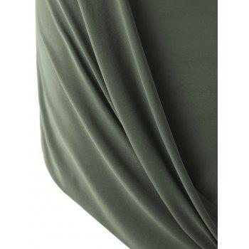 Stylish Solid Color Sleeveless Pleated Asymmetric Dress For Women - ARMY GREEN XL