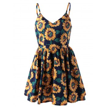 Stylish Spaghetti Straps V-Neck Print Dress For Women
