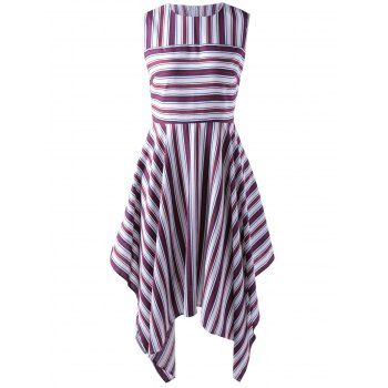 Stylish Stripe Splicing Dress For Women