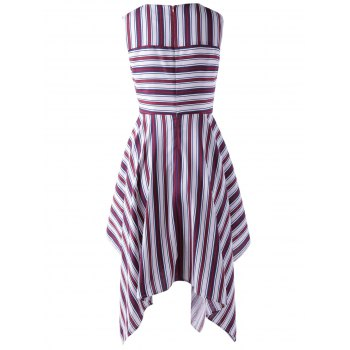 Stylish Stripe Splicing Dress For Women - RED/WHITE S