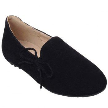 Simple Bowknot and Round Toe Design Women's Flat Shoes - BLACK 37