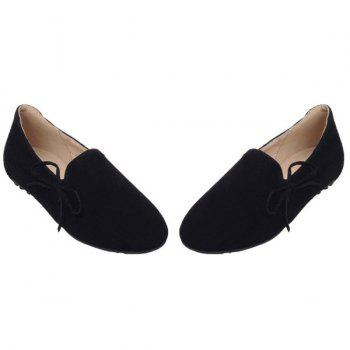 Simple Bowknot and Round Toe Design Women's Flat Shoes - 37 37