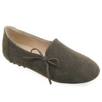 Simple Bowknot and Round Toe Design Women's Flat Shoes - ARMY GREEN 38