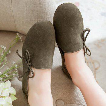 Simple Bowknot and Round Toe Design Women's Flat Shoes - 38 38