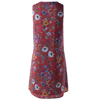 Stylish Printing Bind Sleeveless Dress For Women - DARK RED S