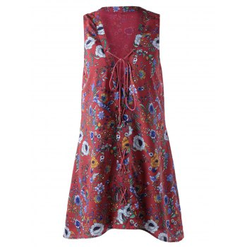 Stylish Printing Bind Sleeveless Dress For Women - DARK RED DARK RED