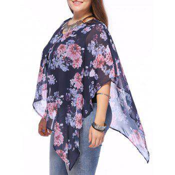 Stylish V-Neck Batwing Sleeve Floral Print Asymmetric Blouse For Women
