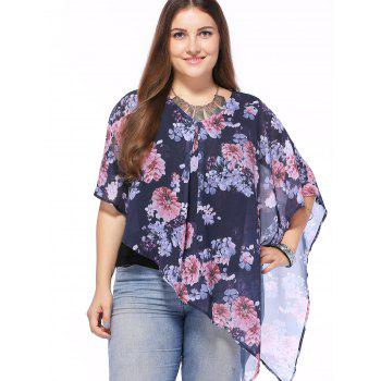 Stylish V-Neck Batwing Sleeve Floral Print Asymmetric Blouse For Women - VIOLET VIOLET