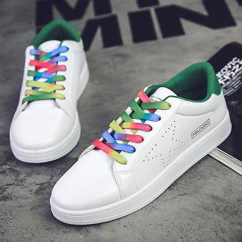 Simple Colorful Shoelace and PU Leather Design Men's Casual Shoes - WHITE/GREEN 40
