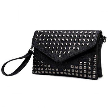 Trendy Rivet and Solid Color Design Women's Clutch Bag - BLACK BLACK
